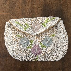 Vintage Beaded Wallet or Purse 1930s 1940s Floral